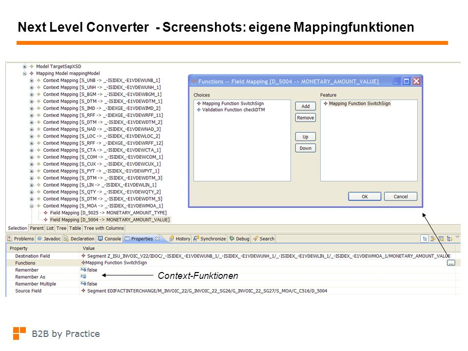 Next Level Converter - Screenshots: eigene Mappingfunktionen
