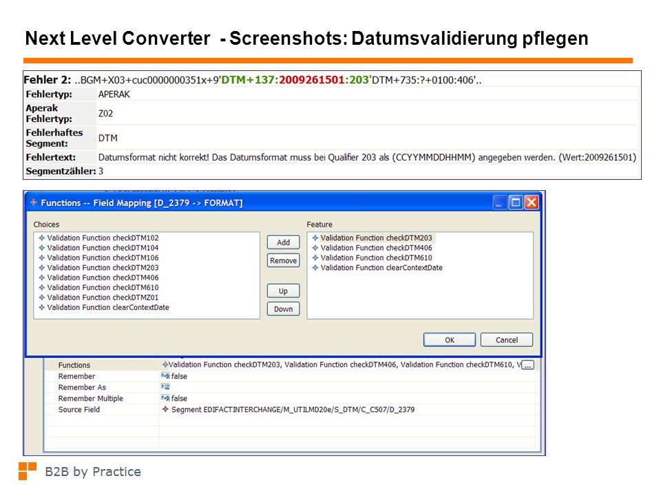 Next Level Converter - Screenshots: Datumsvalidierung pflegen