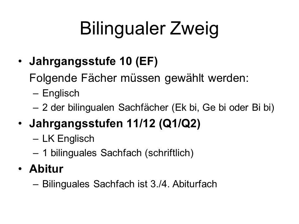 Bilingualer Zweig Jahrgangsstufe 10 (EF)