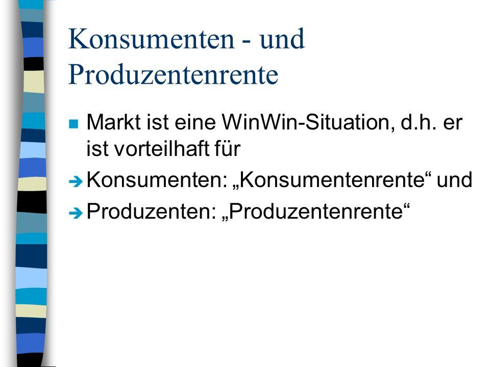 Konsumenten - und Produzentenrente