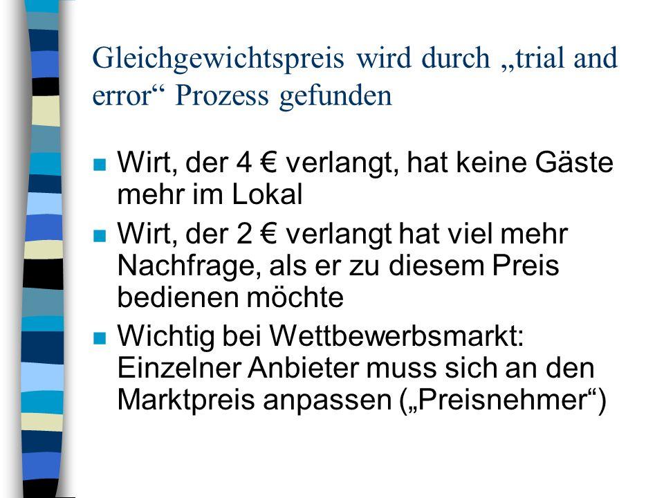 """Gleichgewichtspreis wird durch """"trial and error Prozess gefunden"""