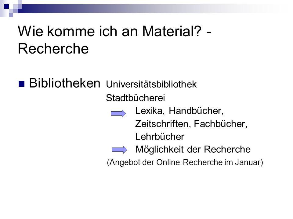 Wie komme ich an Material - Recherche