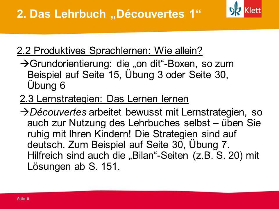 """2. Das Lehrbuch """"Découvertes 1"""