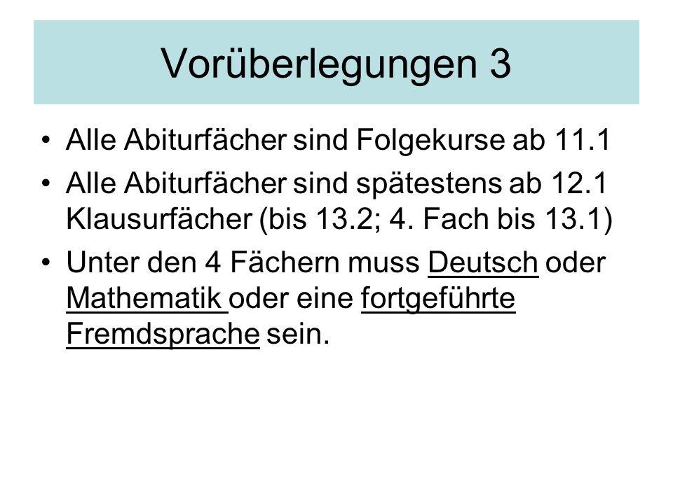 Vorüberlegungen 3 Alle Abiturfächer sind Folgekurse ab 11.1