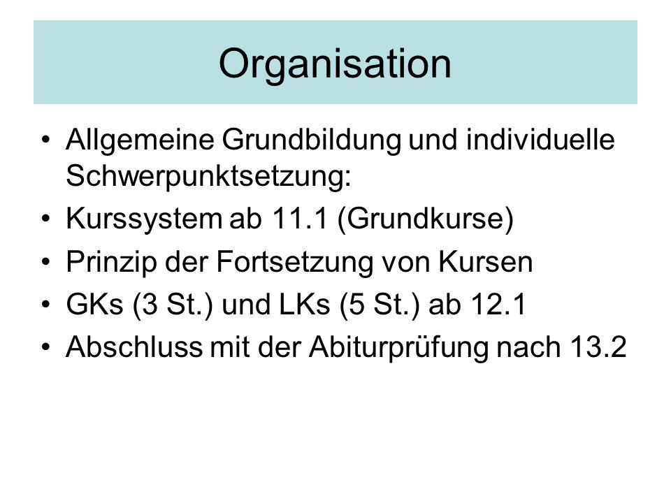 Organisation Allgemeine Grundbildung und individuelle Schwerpunktsetzung: Kurssystem ab 11.1 (Grundkurse)
