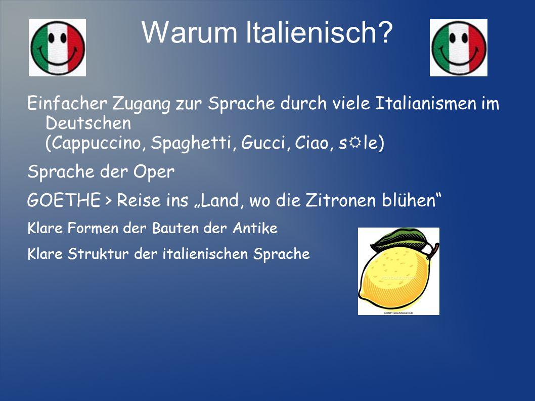 Warum Italienisch Einfacher Zugang zur Sprache durch viele Italianismen im Deutschen (Cappuccino, Spaghetti, Gucci, Ciao, sRle)