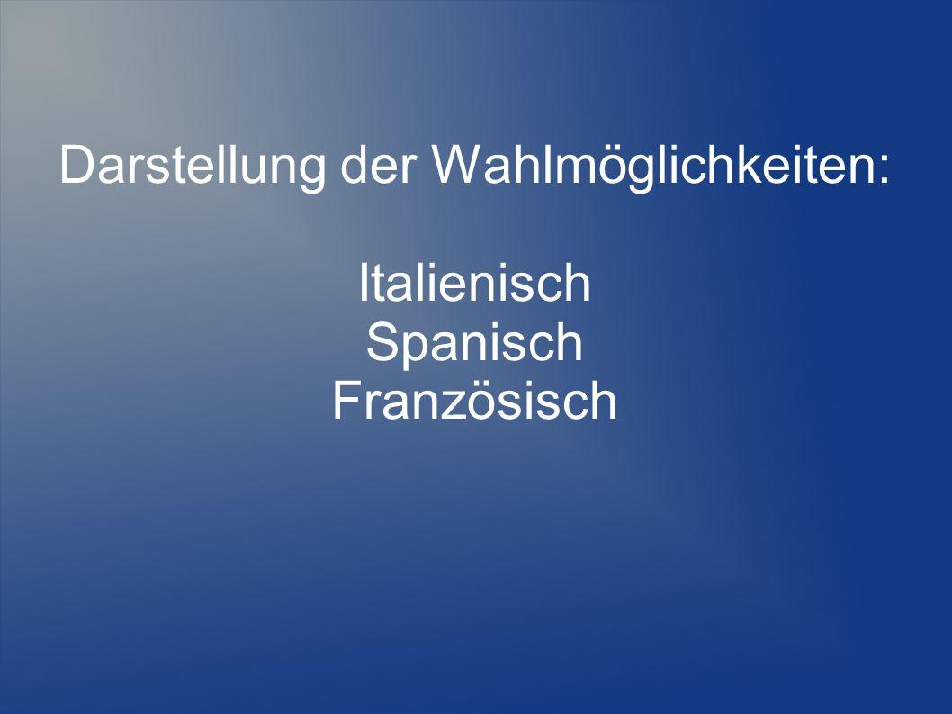Darstellung der Wahlmöglichkeiten: Italienisch Spanisch Französisch