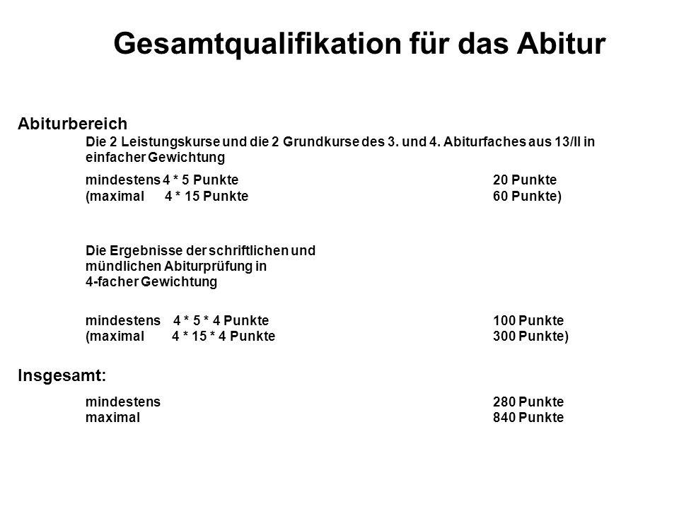Gesamtqualifikation für das Abitur