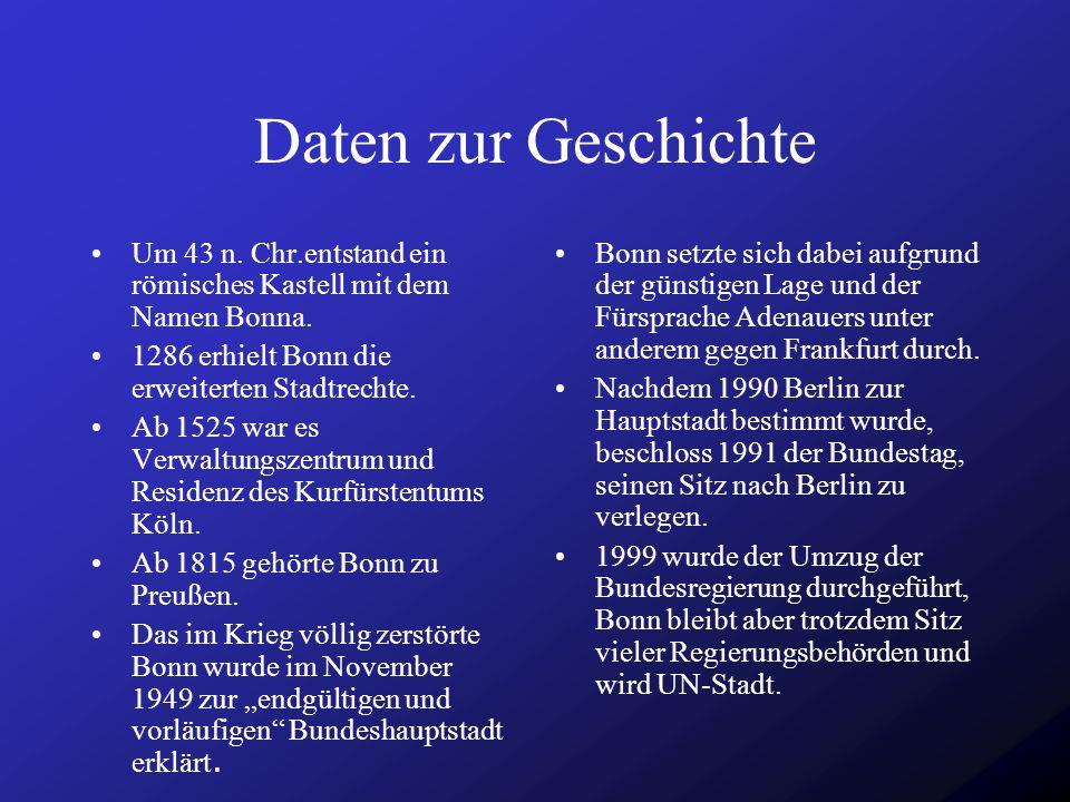 Daten zur Geschichte Um 43 n. Chr.entstand ein römisches Kastell mit dem Namen Bonna. 1286 erhielt Bonn die erweiterten Stadtrechte.