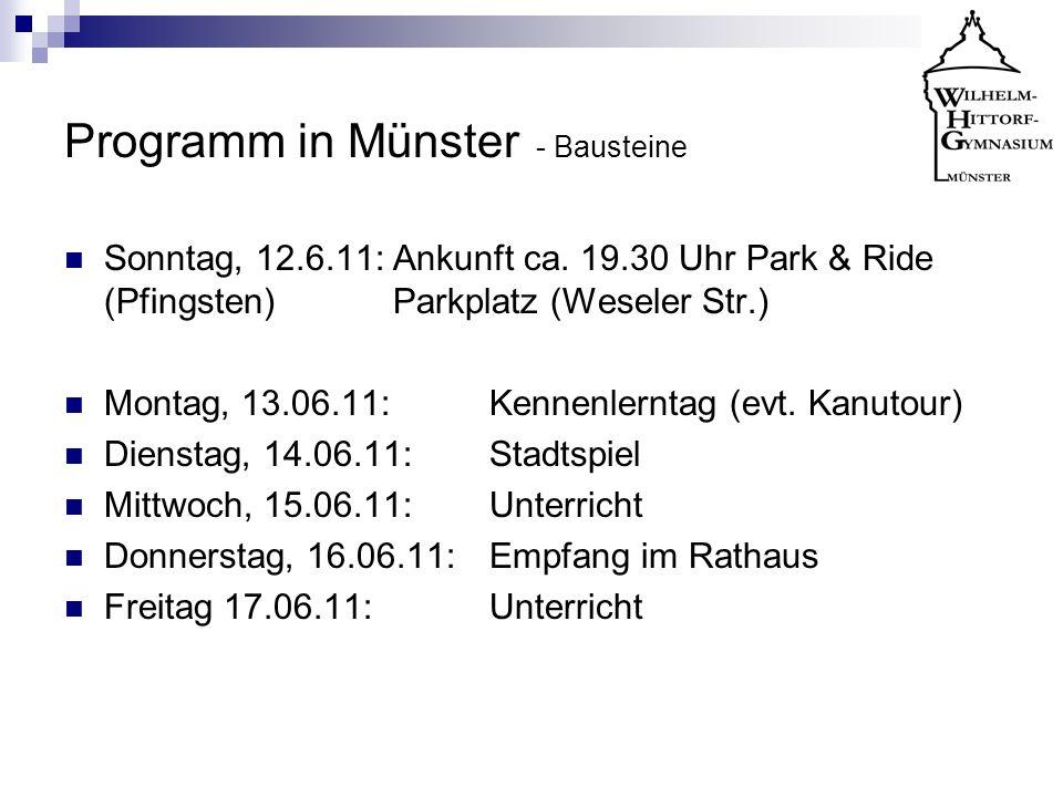 Programm in Münster - Bausteine