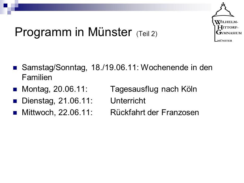 Programm in Münster (Teil 2)