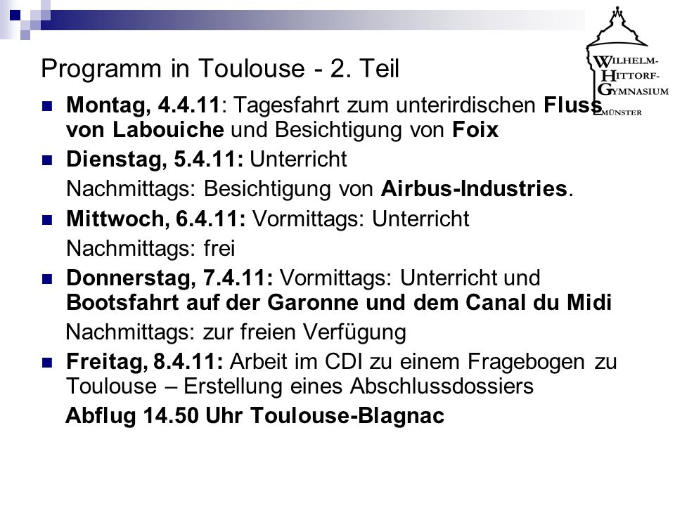 Programm in Toulouse - 2. Teil