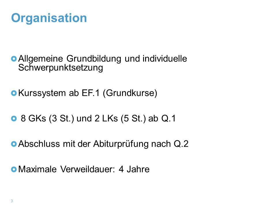 Organisation Allgemeine Grundbildung und individuelle Schwerpunktsetzung. Kurssystem ab EF.1 (Grundkurse)