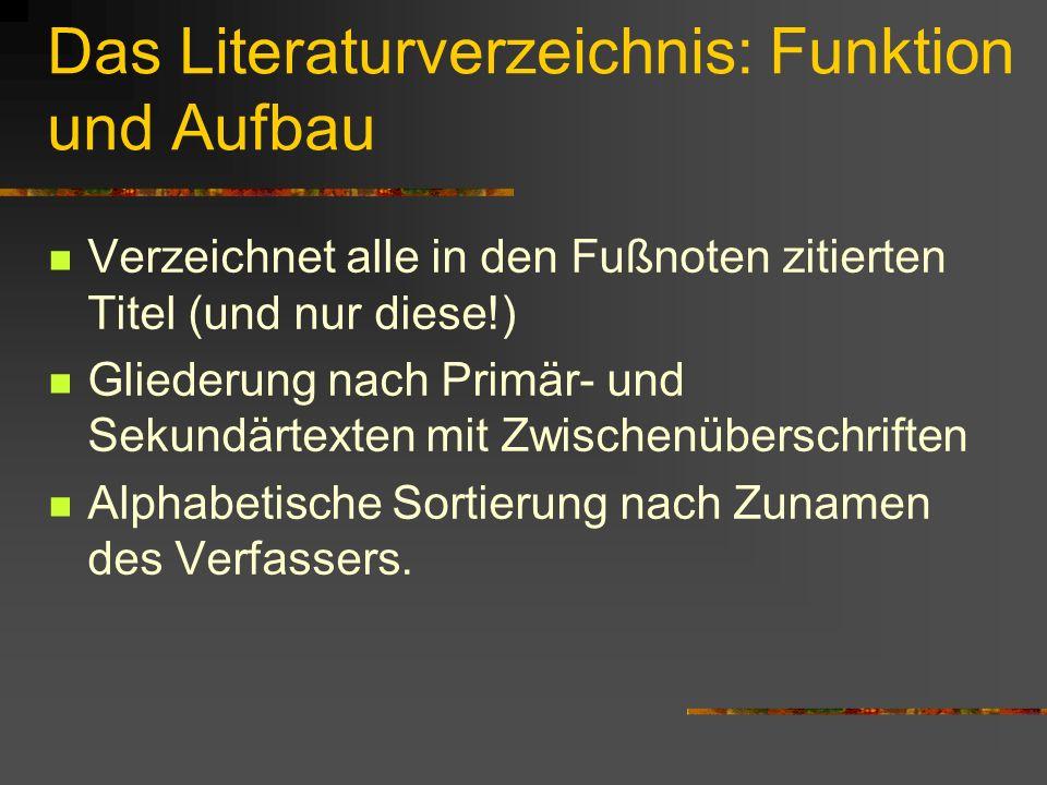 Das Literaturverzeichnis: Funktion und Aufbau