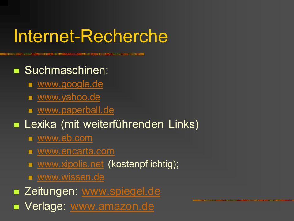 Internet-Recherche Suchmaschinen: Lexika (mit weiterführenden Links)
