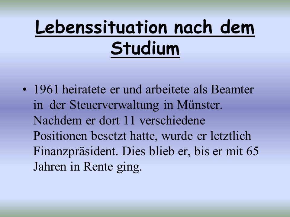 Lebenssituation nach dem Studium