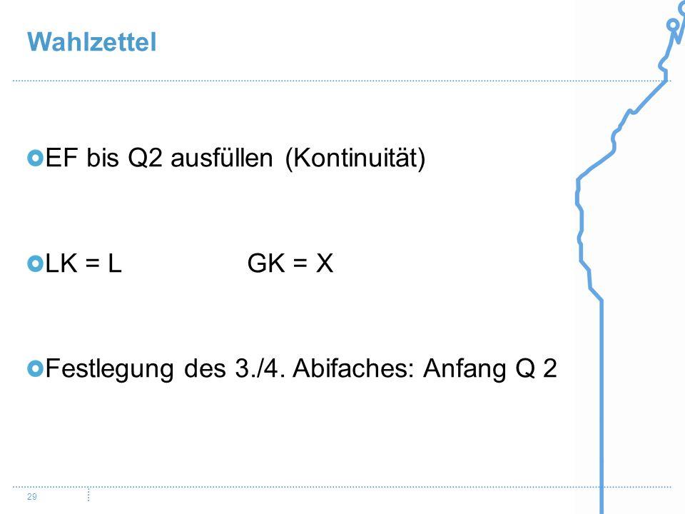 Wahlzettel EF bis Q2 ausfüllen (Kontinuität) LK = L GK = X.