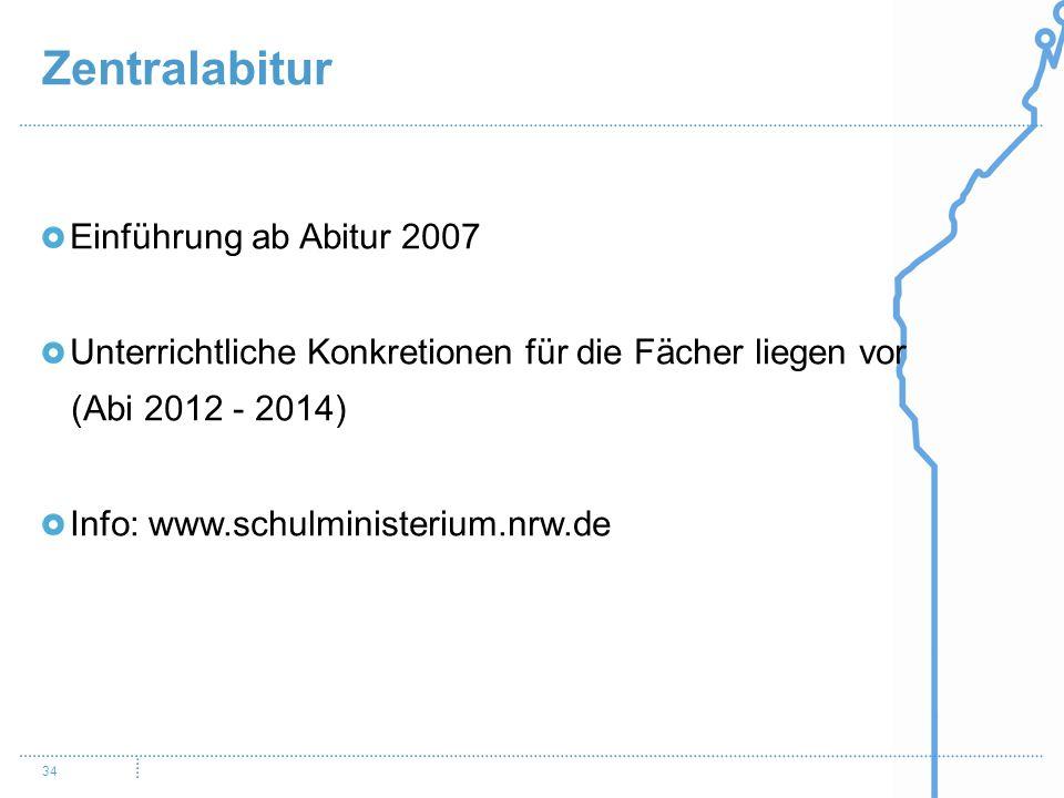 Zentralabitur Einführung ab Abitur 2007