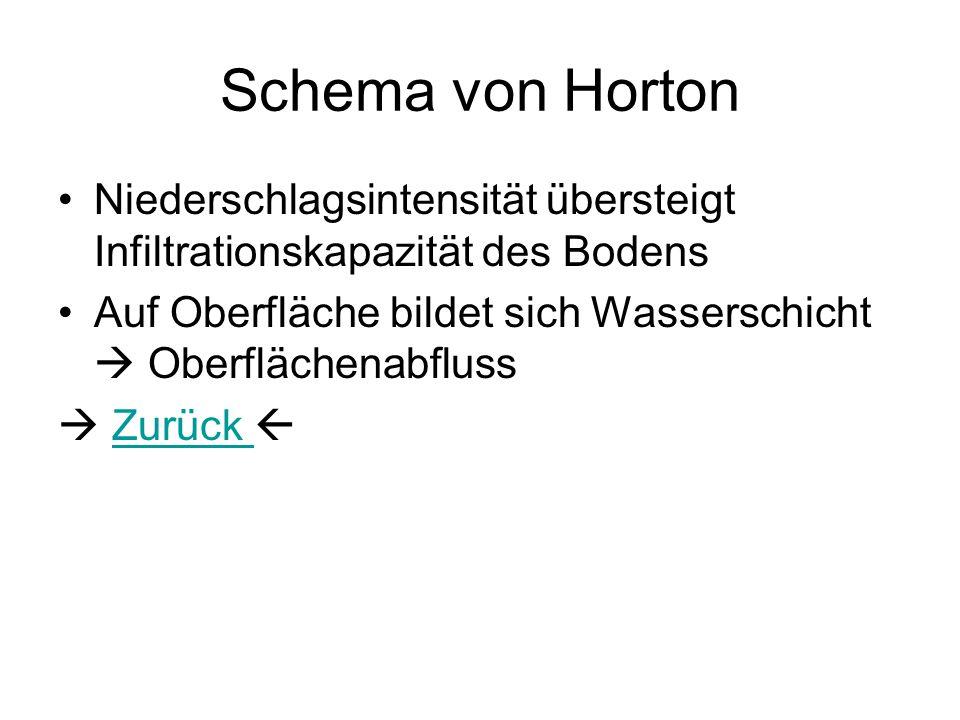 Schema von Horton Niederschlagsintensität übersteigt Infiltrationskapazität des Bodens.