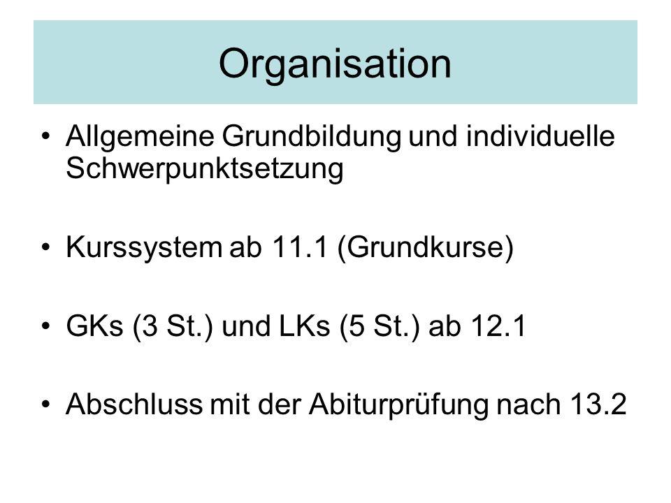 Organisation Allgemeine Grundbildung und individuelle Schwerpunktsetzung. Kurssystem ab 11.1 (Grundkurse)