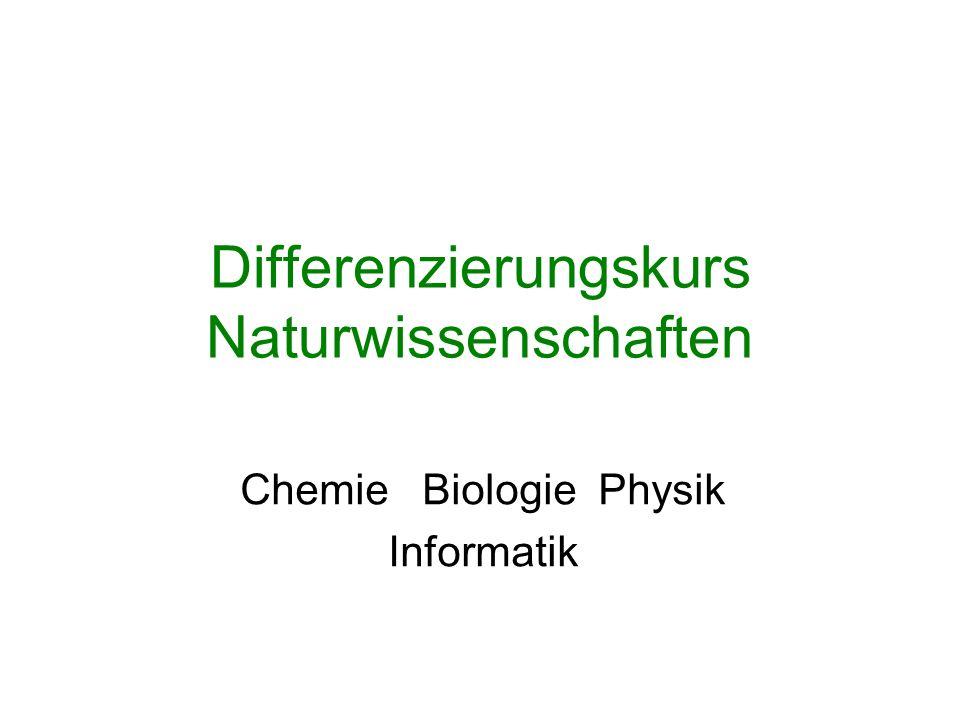 Differenzierungskurs Naturwissenschaften