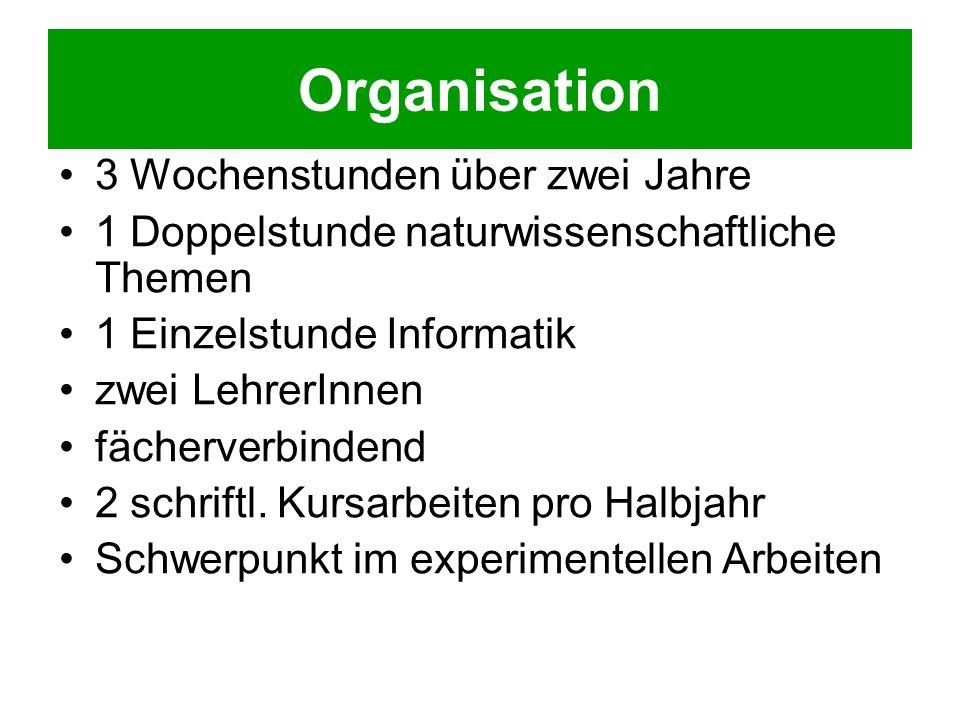 Organisation 3 Wochenstunden über zwei Jahre