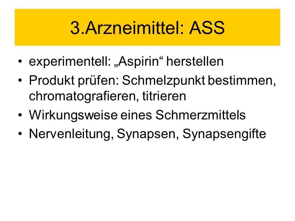 """3.Arzneimittel: ASS experimentell: """"Aspirin herstellen"""