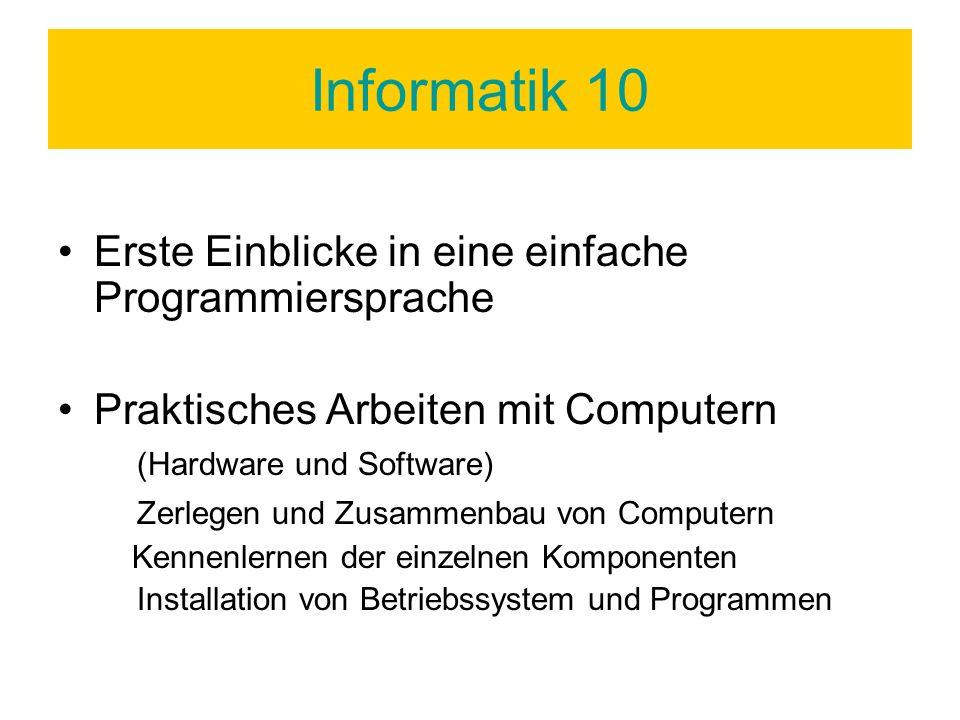 Informatik 10 Erste Einblicke in eine einfache Programmiersprache