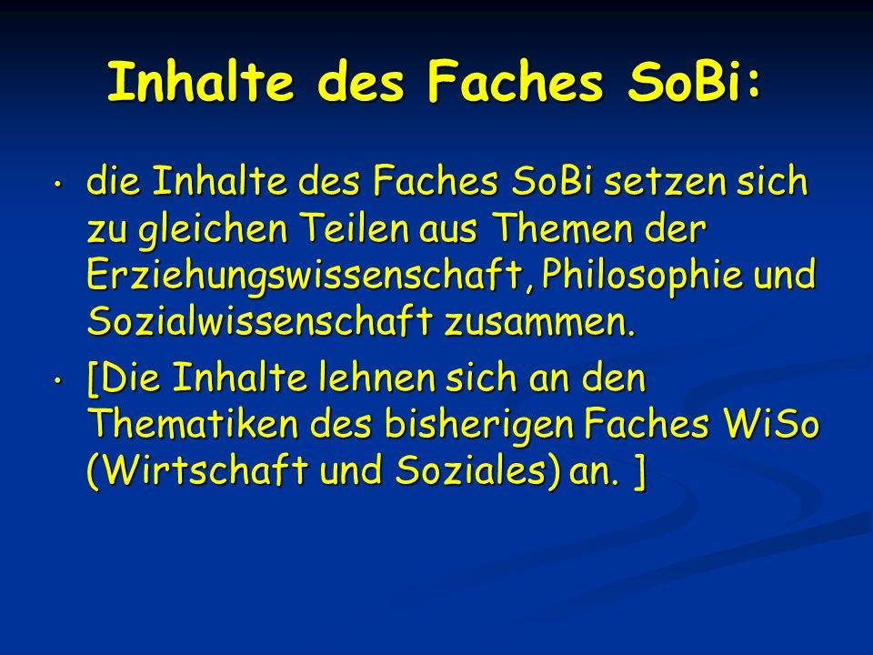 Inhalte des Faches SoBi: