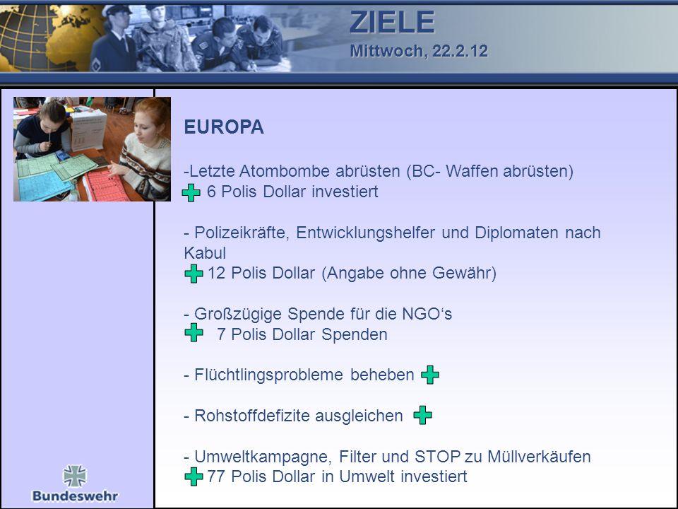 ZIELE Mittwoch, 22.2.12. EUROPA. Letzte Atombombe abrüsten (BC- Waffen abrüsten) 6 Polis Dollar investiert.