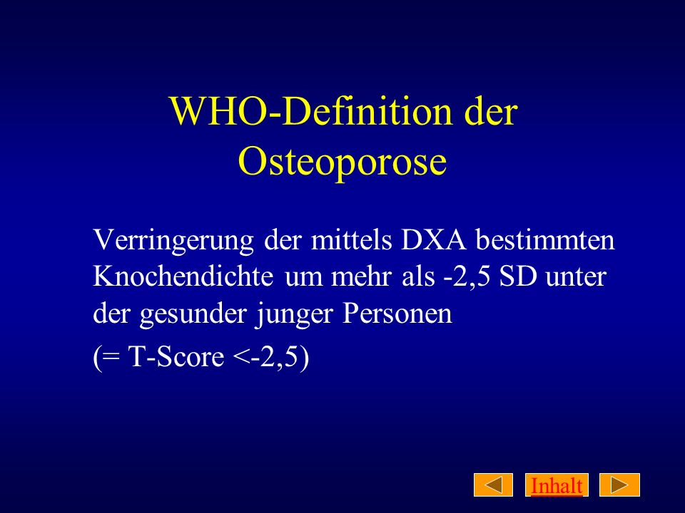 WHO-Definition der Osteoporose