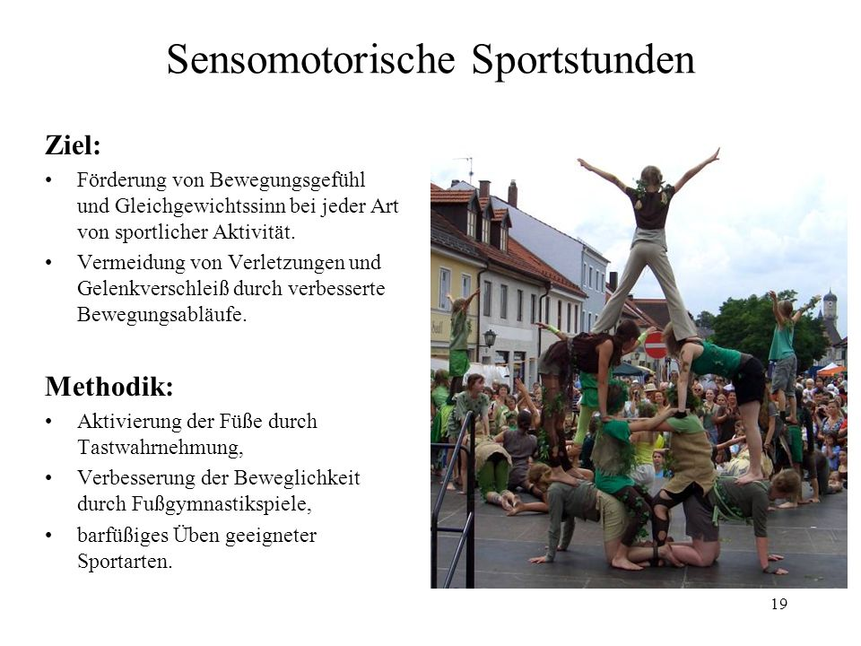 Sensomotorische Sportstunden