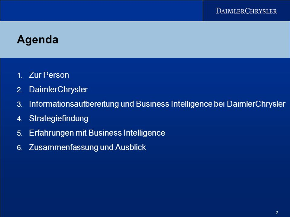 Agenda Zur Person DaimlerChrysler