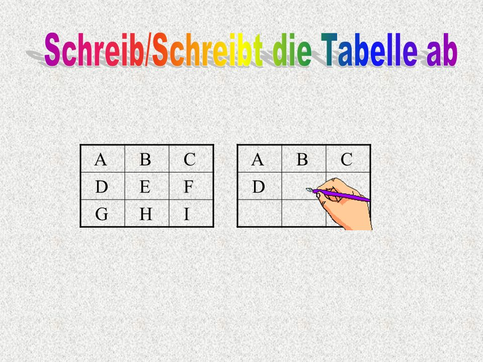 Schreib/Schreibt die Tabelle ab