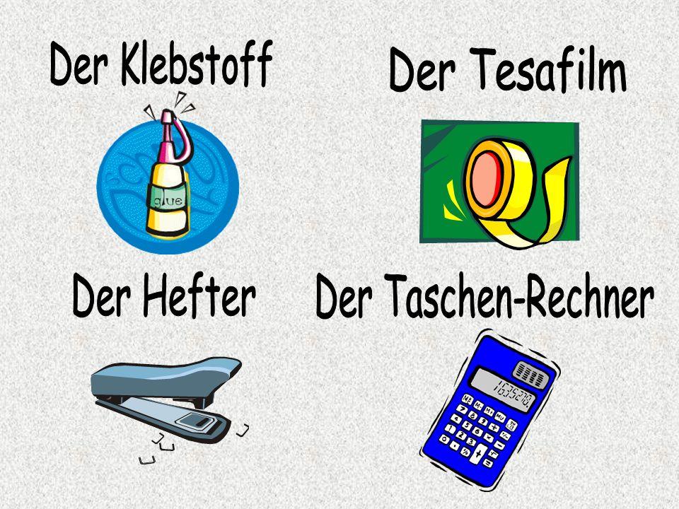 Der Klebstoff Der Tesafilm Der Hefter Der Taschen-Rechner