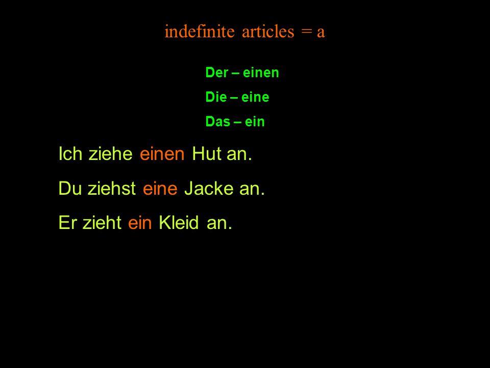 indefinite articles = a