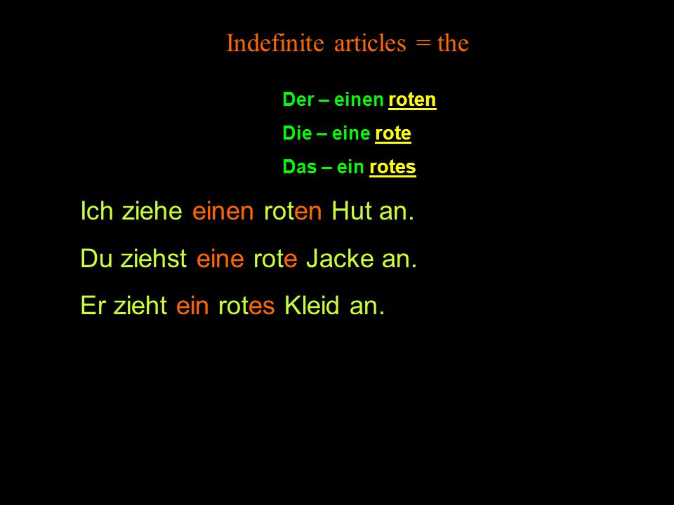 Indefinite articles = the