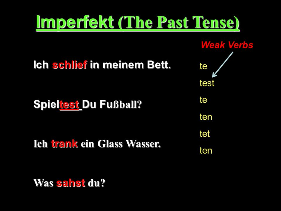 Imperfekt (The Past Tense)