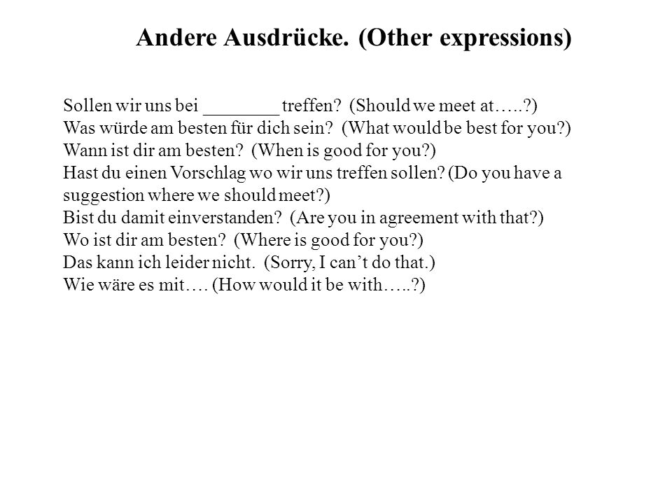 Andere Ausdrücke. (Other expressions)
