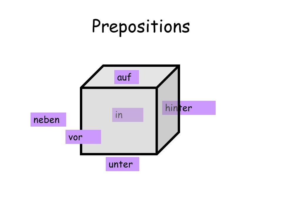 Prepositions auf hinter in neben vor unter