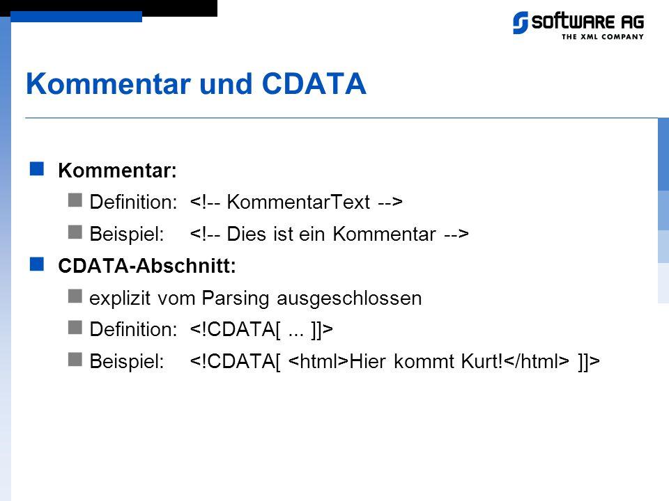 Kommentar und CDATA Kommentar: