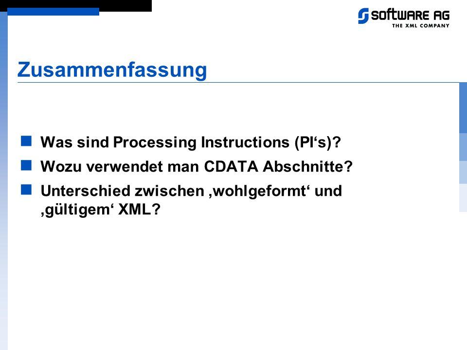 Zusammenfassung Was sind Processing Instructions (PI's)