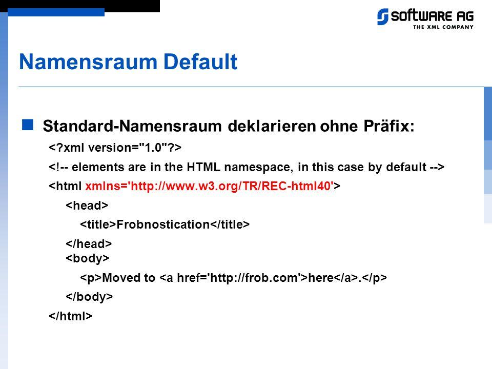 Namensraum Default Standard-Namensraum deklarieren ohne Präfix: