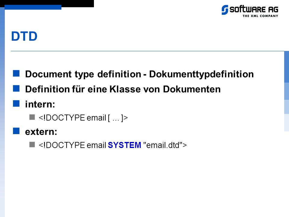 DTD Document type definition - Dokumenttypdefinition