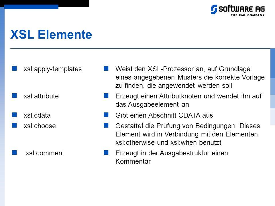 XSL Elemente xsl:apply-templates xsl:attribute xsl:cdata xsl:choose
