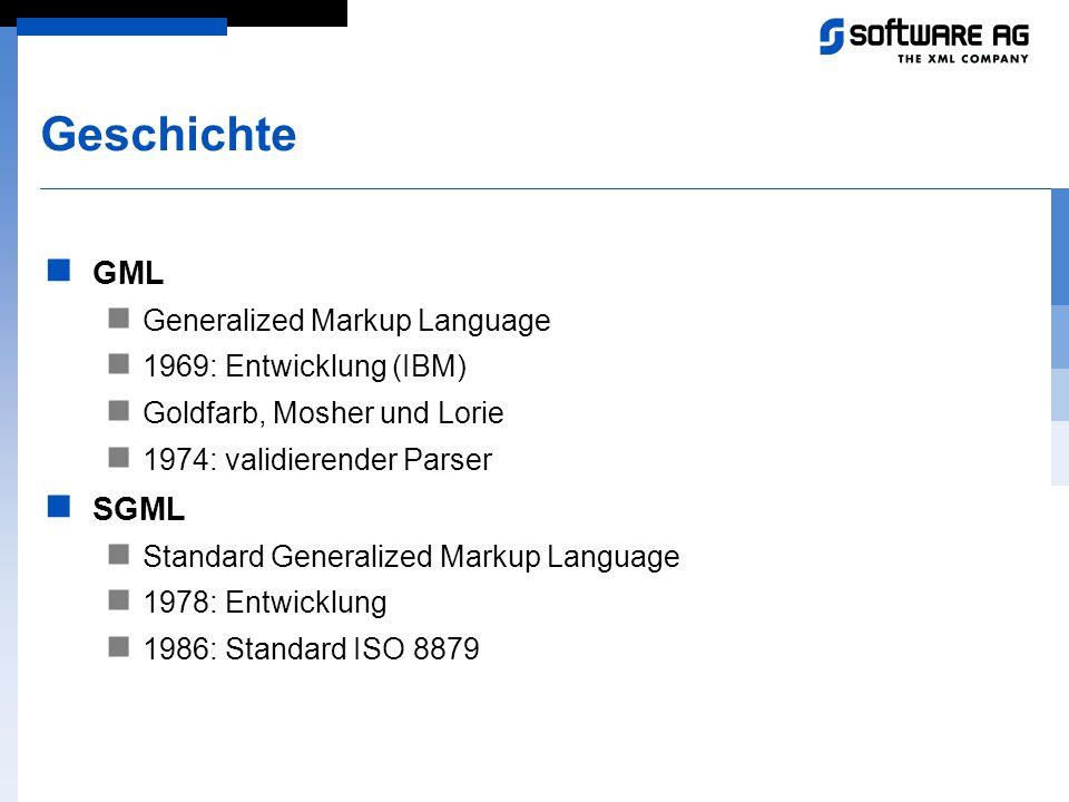 Geschichte GML SGML Generalized Markup Language