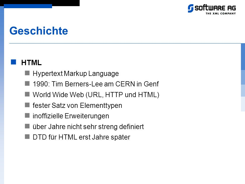 Geschichte HTML Hypertext Markup Language