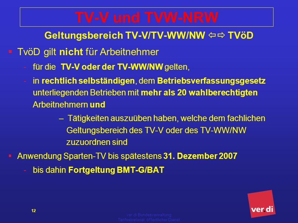 TV-V und TVW-NRW Geltungsbereich TV-V/TV-WW/NW  TVöD