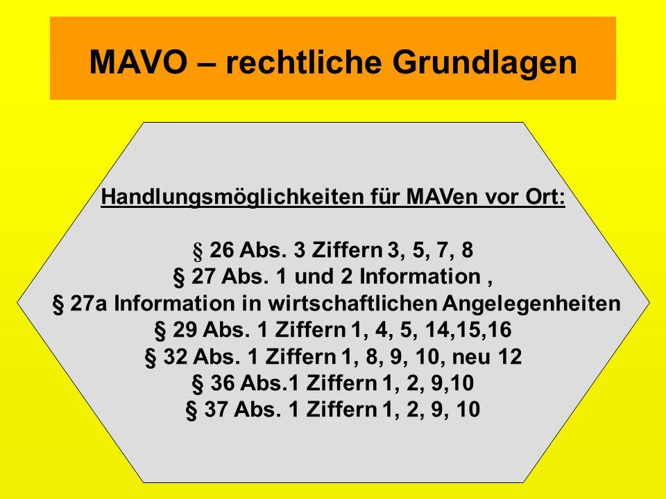 MAVO – rechtliche Grundlagen