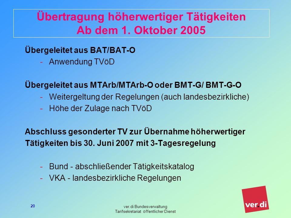 Übertragung höherwertiger Tätigkeiten Ab dem 1. Oktober 2005